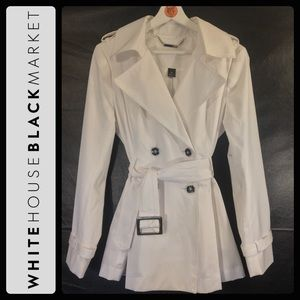 WHBM WHITE 3/4 TRENCH COAT w/ SILVER DETAIL